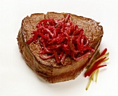 Steak with Red Beets & Pickles