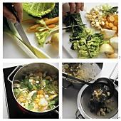 Preparing clear vegetable stock