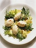 Smoked Fish Dumplings on small Salad