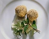 Deep Fried Sesame Balls on Feta
