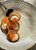Blini s ikroi (blini with sour cream and caviare, Russia)
