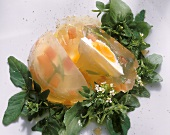 Poached Egg in Jelly on Watercress