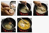 Preparing risotto alla milanese
