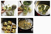 Preparing stuffed artichokes (deep-frying)