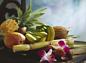 Exotic Fruit Still Life with Bananas, Mangos, Coconuts, and Pineapple