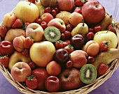 Wicker basket with summer fruits