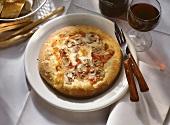 Pizza funghi (mushroom pizza, Italy)
