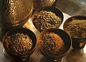 Caraway Seeds and Ground Caraway; Brass Bowls
