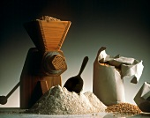 Grain Mill with Grain and Flour