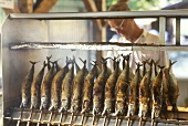Stall with skewered fish in Hirschgarten, Munich