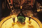 Typical Franconian Bocksbeutel (flat wine bottle) in old cellar