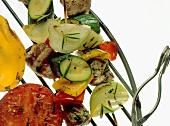 Meat kebabs with vegetables