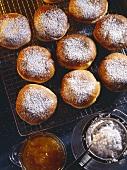 Carnival fritters; freshly-made on cake rack