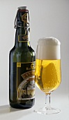 A glass of Pils and bottle from Austria