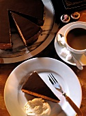 Sacher torte and a cup of coffee