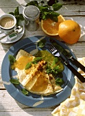 Crepe suzette with orange liqueur