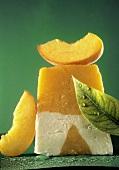 Frozen Yogurt and Peach Ice Cream in a Slice