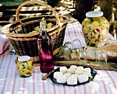 Assorted Goat Cheese and Pickles; Wine for a Picnic