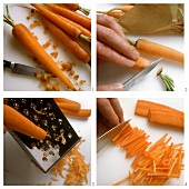 Cleaning, grating or slicing carrots