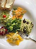A Plate of Raw Vegetables with Herb dressing