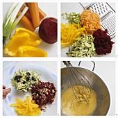 Preparing plate of raw vegetables