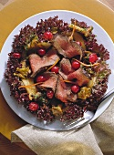Game salad with mushrooms & cranberries