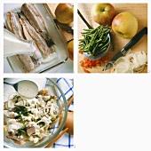 Making matjes herring salad