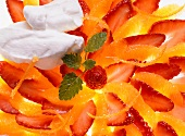 Orange-Strawberry Salad with Mint Leaves; Whipped Cream