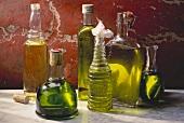Assortment of Oils in Glass Bottles