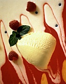 White Chocolate Mousse with Red Berry Sauce