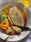 Breast of Pork with Pretzel Stuffing & Vegetables