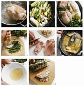 Preparing ham in parsley aspic