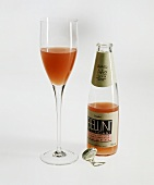 A Glass and a Bottle of Bellini Champagne
