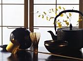 Japanese Tea Scene in Front of Blind