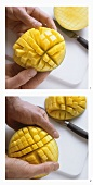 Slicing and preparing mango