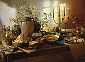 Buffet with Mediterranean Dishes
