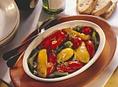 Peperonata (marinated peppers with garlic, Italy)