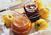 Quince jam and raspberry jam