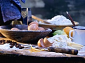 Baking Ingredients on a Wooden Table