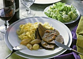Braised Beef with Ribbon Pasta & Salad
