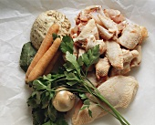 Chicken Parts; Vegetables & Rice for Chicken Broth