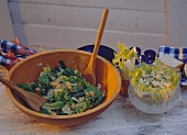 Green Salad with Cheese Croutons & Cheese Salad