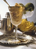 Tea sorbet in gold-rimmed glass