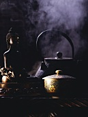 Decorated Tea Cup with Tea Pot; Buddha and Steam