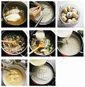 Making chicken cream soup with mushrooms