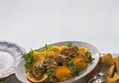 Chicken Breast with Mint on Saffron Rice