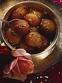 Milk Powder Balls in Syrup with Pistachio