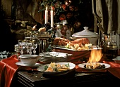 Buffet with Lobster; Salmon & flamed Crepes