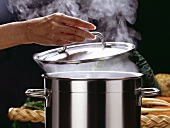 Hand Lifting Lid of Steaming Stock Pot
