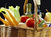Basket with Carrots; Tomatoes; Olive Oil & Pear